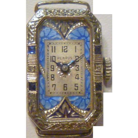 Rare benrus art deco 14k gold enamel wrist watch sold for Minimal art wrist watch