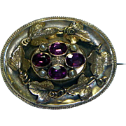 Antique 14K Gold Mourning Brooch.