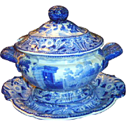 Antique Pearlware Staffordshire 3 piece gravy tureen
