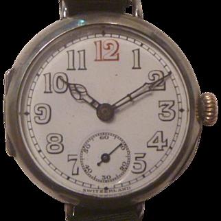World War One Period Swiss Silver Wrist Watch