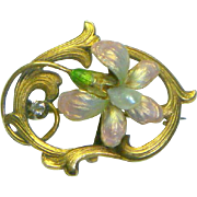 Antique Art Nouveau 14K Enamel diamond & Pearl Pin