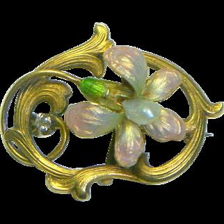 Antique Art Nouveau 14K Enamel diamond & Pearl Pin