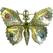 Vintage 14K Gold Gem Set Butterfly Pin Pendant