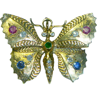 Vintage 14K Gold Gem Set Butterfly Pin Pendant