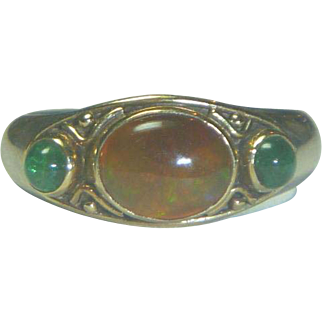Vintage Silver Gold Opal & Emerald Ring