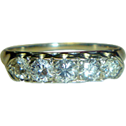 Vintage White 14K Gold & Diamond Ring
