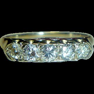 Vintage White 14K Gold & Diamond Ring