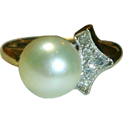Vintage 14 K & Platinum Cultured Pearl and Diamond Ring