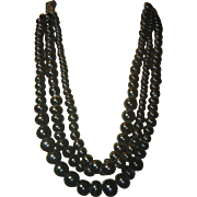 Antique Glass Mourning Bead Necklace