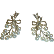 Vintage 10K Gold & Cultured Pearl Earrings