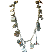 Wonderful Vintage Sterling Silver Articulated Charm Necklace