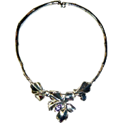 Vintage Sterling Silver Amethyst & Diamond Necklace