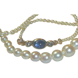 Antique Victorian Natural Saltwater Pearl Sapphire and Rose Diamond Necklace