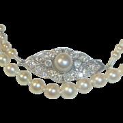 Antique Edwardian Natural Saltwater Pearl Necklace Platinum diamond Pearl clasp
