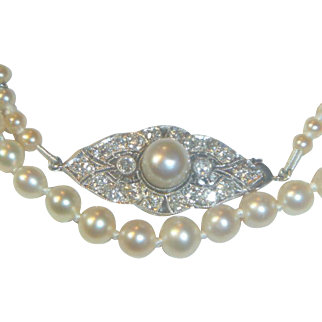 Antique Edwardian Natural Saltwater Pearl Necklace Platinum diamond Pearl clasp