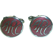 Vintage Hard Enamel A F C   Cuff Links