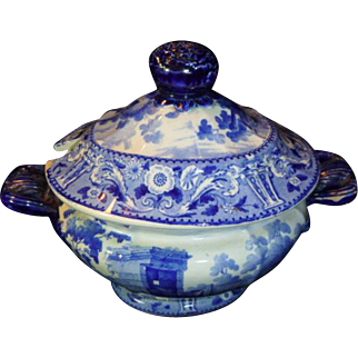 Antique Blue & White Saffordshire Covered Tureen