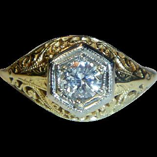 Vintage Art Deco Filigree 14K Yellow Gold Diamond Ring