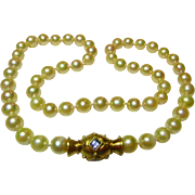 Vintage 18K Gold & Cultured Pearl Choker