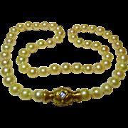 Vintage 18K Gold & Cultured Pearl Choker