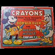 Vintage Walt Disney Mickey Mouse & Donald Duck Crayon Box