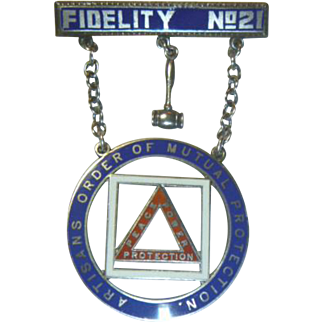 Vintage Artisans Order of Mutual Protection Sterling Medal