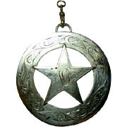Large Hand Engraved Silver Plated Fraternal Star Pendant