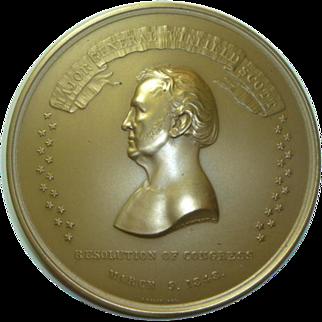 Antique Congressional Bronze Medal For Major General Winfield Scott