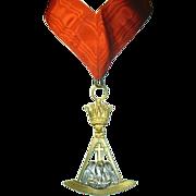 Vintage Masonic Pendant Collerette