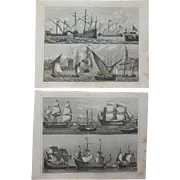 Antique Pair of Original Ship Engravings from 1851