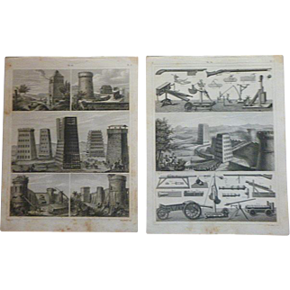 Antique Pair of Original Military Engravings from Heck's 1851 Encyclopedia