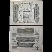 Antique Pair of Original Ship Engravings from Heck's 1851 Encyclopedia
