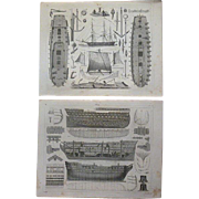 Antique Pair of Original Ship Engravings from Heck's 1851 Encyclopedia