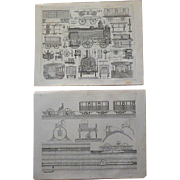 Antique Pair of Original Train Engravings from Heck's 1851 Encyclopedia