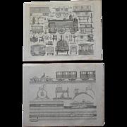 Antique Pair of Original Train Engravings from Heck's 1851 Encyclopedia