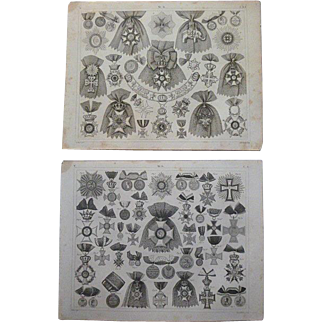 Antique Pair of Original  Engravings of Orders & Medals from Heck's 1851 Encyclopedia