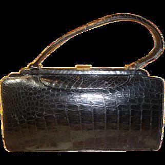 Vintage Black Natural Alligator Handbag