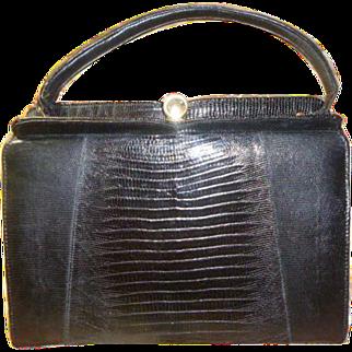 Vintage Black Natural Lizard Handbag