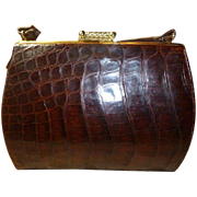 A Vintage Natural Brown Alligator Handbag