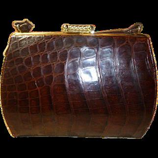 A Vintage Natural Brown Alligator Handbag