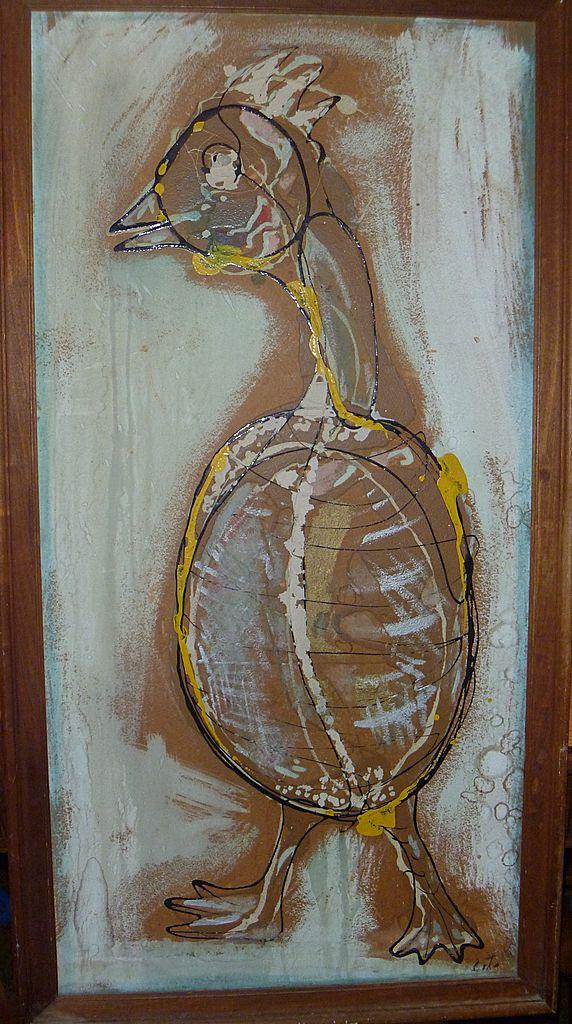 "Ernest Trova Painting ""SAN SAM"" 1947"