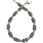 Bali Sterling Silver and Blue Swarovski Crystal Bracelet