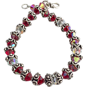 Bali Sterling Silver and Red Swarovski Crystal Bracelet