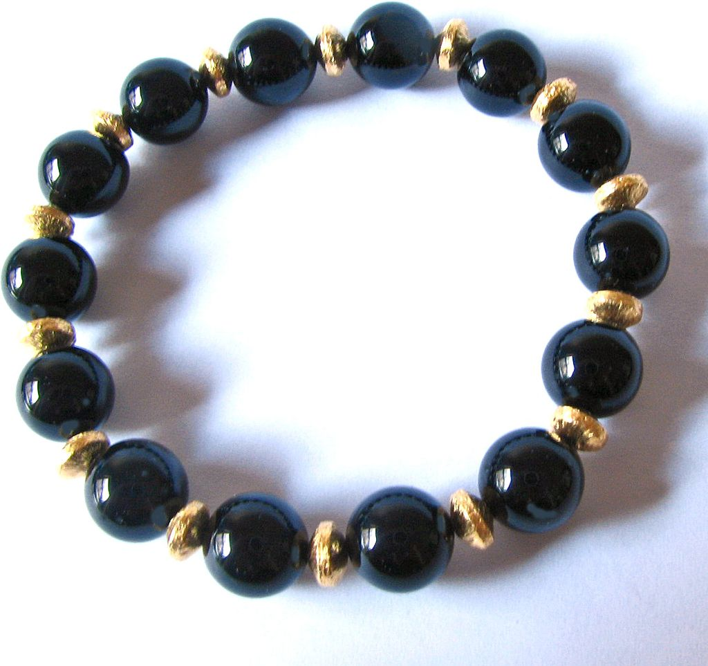 Black Onyx (AAA Grade), Brush Textured Vermeil Beaded Bracelet