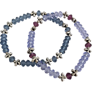 Denim Blue and Purple Provence Lavender with Purple Amethyst - Swarovski Crystal Beaded Bracelets