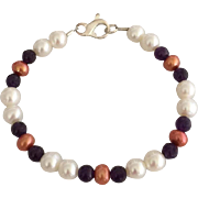 Cultured Fresh Water Pearls, Grade AAA Natural Zambian Amethyst Beaded Bracelet