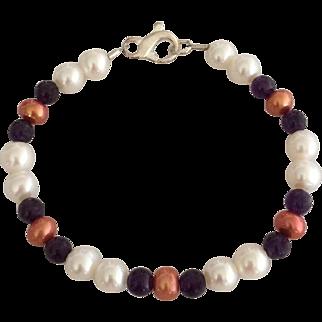 Cultured Fresh Water Pearls, Grade AAA Natural Zambian Amethyst Beaded Bracelet