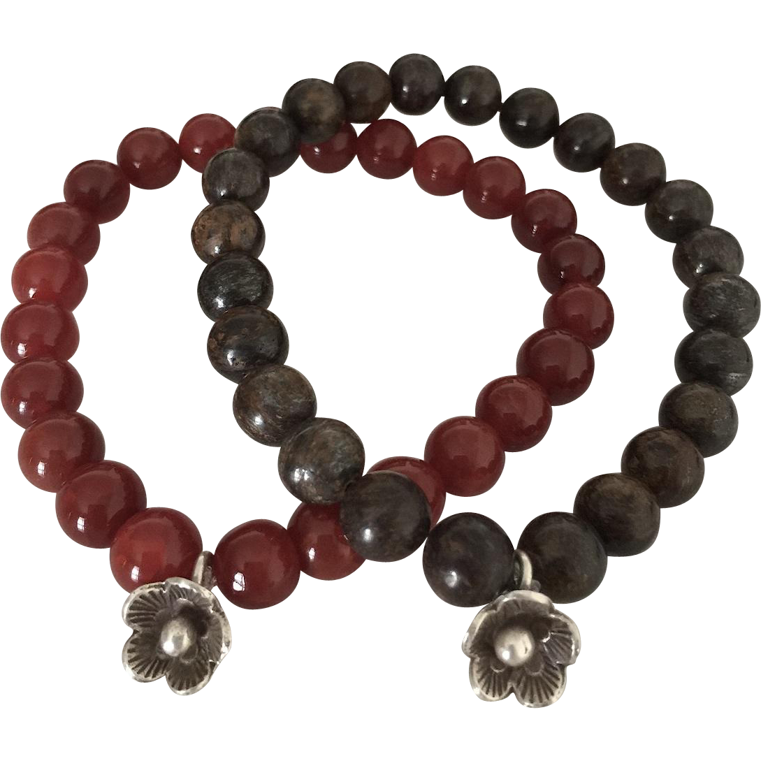 Duo Beaded Bracelets - Fire Agate and Bronzite - Hill Tribes Silver Floral