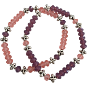 Rose Pink and Purple Cyclamen Opal - Swarovski Crystal Beaded Bracelets