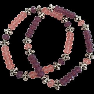 Rose Pink and Purple Cyclamen Opal - Swarovski Crystal Beaded Bracelets